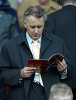 Liverpool's cheif executive Rick Parry reads the LFC matchday magazine against Sunderland during the Premiership match at Anfield, Liverpool, Sunday, November 17th, 2002. <br /><br />Pic by David Rawcliffe/Propaganda<br /><br />Any problems call David Rawcliffe on +44(0)7973 14 2020 or email david@propaganda-photo.com - http://www.propaganda-photo.com