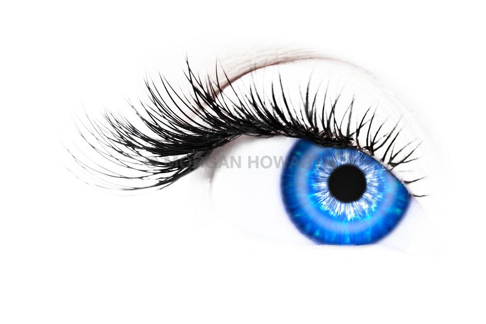 Blue woman's eye close-up