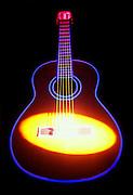 Spotlight on glowing guitar.Black light