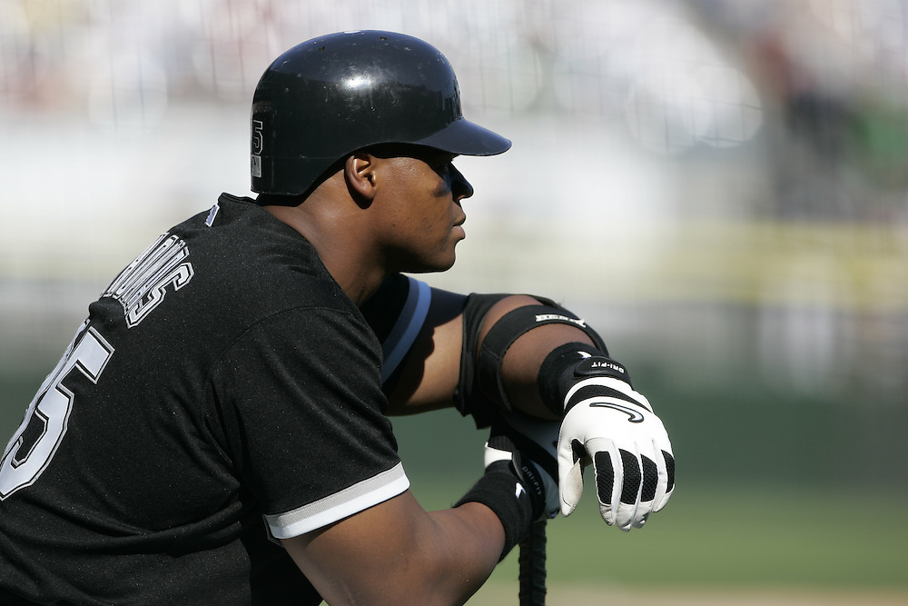CHICAGO - 2005:  Frank Thomas of the Chicago White Sox looks on during an MLB game at U.S. Cellular Field  in Chicago, Illinois.  Thomas played for the White Sox from 1990-2005.  (Photo by Ron Vesely)