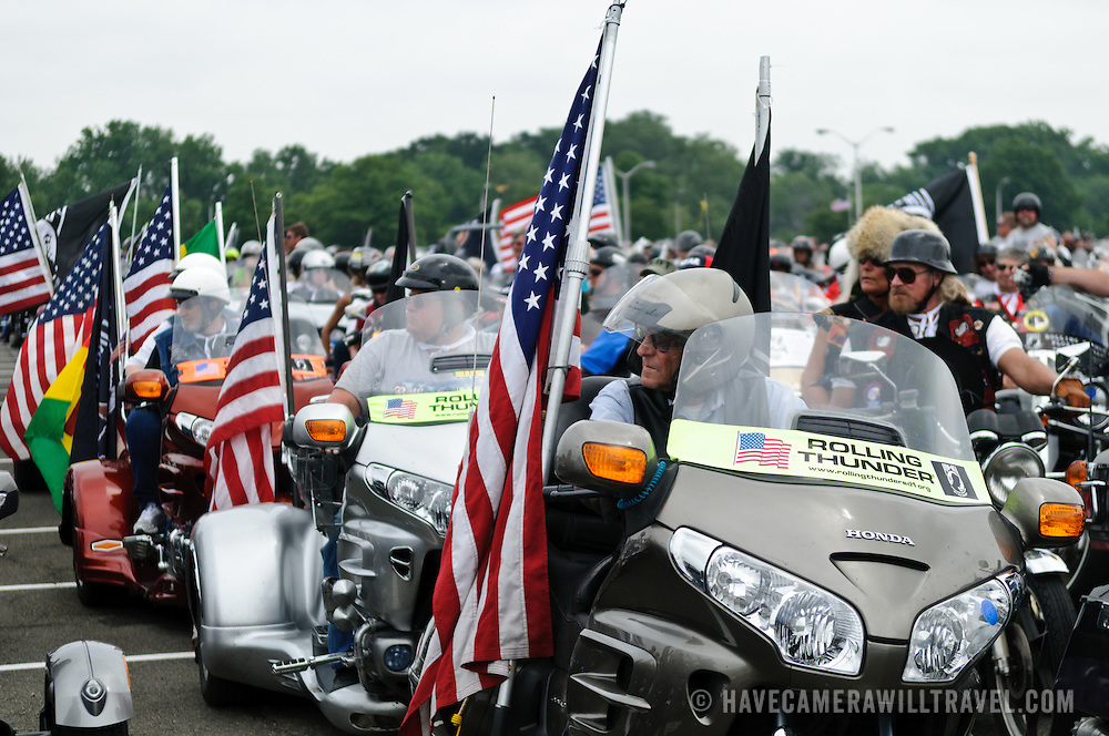 Participants in the annual Rolling Thunder motorcycle rally through downtown Washington DC on May 29, 2011. This shot was taken as the riders were leaving the staging area in the Pentagon's north parking lot, where thousands of bikes and riders had gathered.