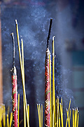 Incense burns in the courtyard of the <br /> Thien Hau Pagoda, Ho Chi Minh City (formerly Saigon), Vietnam