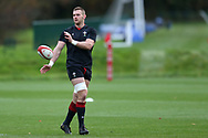 Dan Lydiate, the Wales rugby team captain in action during the Wales rugby team training session at the Vale Resort Hotel in Hensol, near Cardiff , South Wales on Thursday  16th November 2017.  the team are preparing for their Autumn International series match against Georgia this weekend.   pic by Andrew Orchard