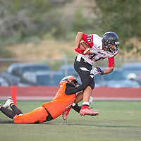 Wide receiver Adrian Ortega (40) makes a catch for Grants  against Gallup at Angelo DiPaolo Memorial Stadium Friday night in Gallup.