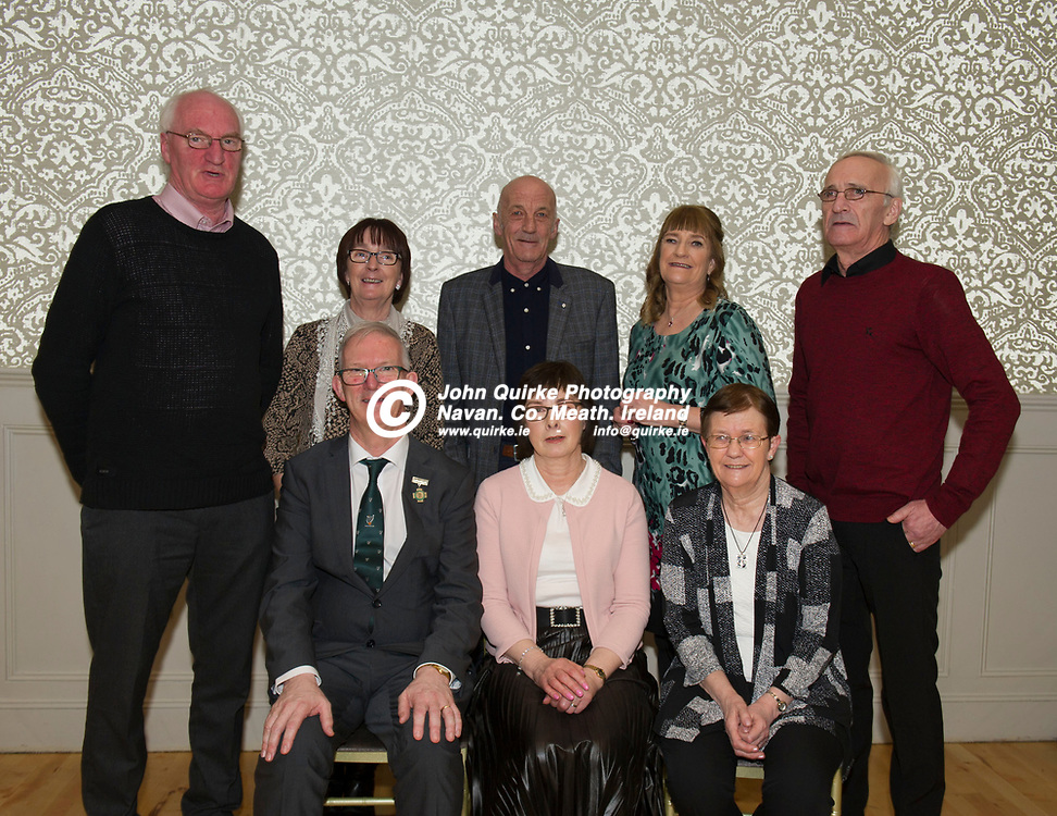 25-01-19. Leinster GAA Annual Convention 2018 at the Knightsbrook Hotel, Trim.<br /> Pat and Frances Teehan pictured with Pat's brothers and sisters L to R.<br /> Back: Noel, Mary, Joan, Tom, John and Ann at the front.<br /> Photo: John Quirke / www.quirke.ie<br /> ©John Quirke Photography, Unit 17, Blackcastle Shopping Cte. Navan. Co. Meath. 046-9079044 / 087-2579454.