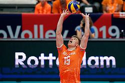 14-09-2019 NED: EC Volleyball 2019 Netherlands - Ukraine, Rotterdam<br /> First round group D - Netherlands win 3-0 / Gijs van Solkema #15 of Netherlands