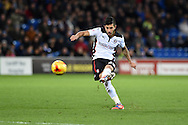 Emmanuel Ledesma of Rotherham Utd takes a free-kick at goal. .Skybet football league championship match, Cardiff city v Rotherham Utd at the Cardiff city stadium in Cardiff, South Wales on Saturday 6th December 2014<br /> pic by Andrew Orchard, Andrew Orchard sports photography.