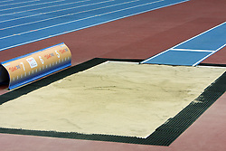 Sand for jumping at the 1st day of  European Athletics Indoor Championships Torino 2009 (6th - 8th March), at Oval Lingotto Stadium,  Torino, Italy, on March 6, 2009. (Photo by Vid Ponikvar / Sportida)