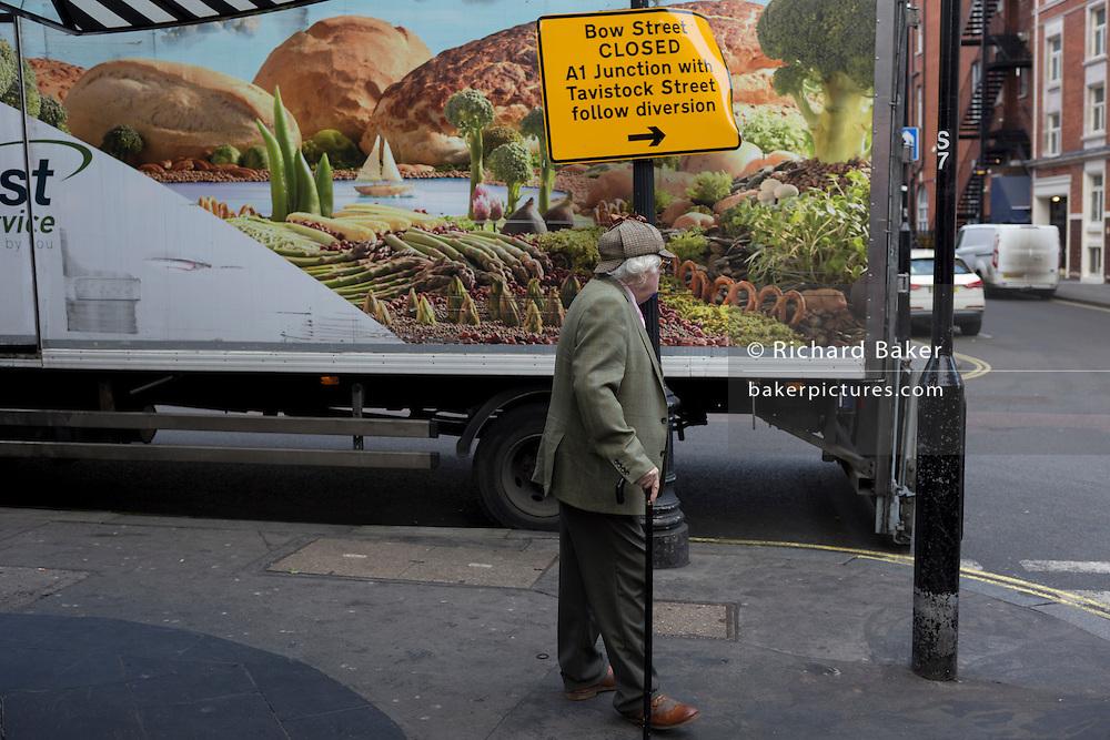 An elderly gentleman wearing a deerstalker hat and a tweed jacket, on 15th February 2017, in London, United Kingdom.