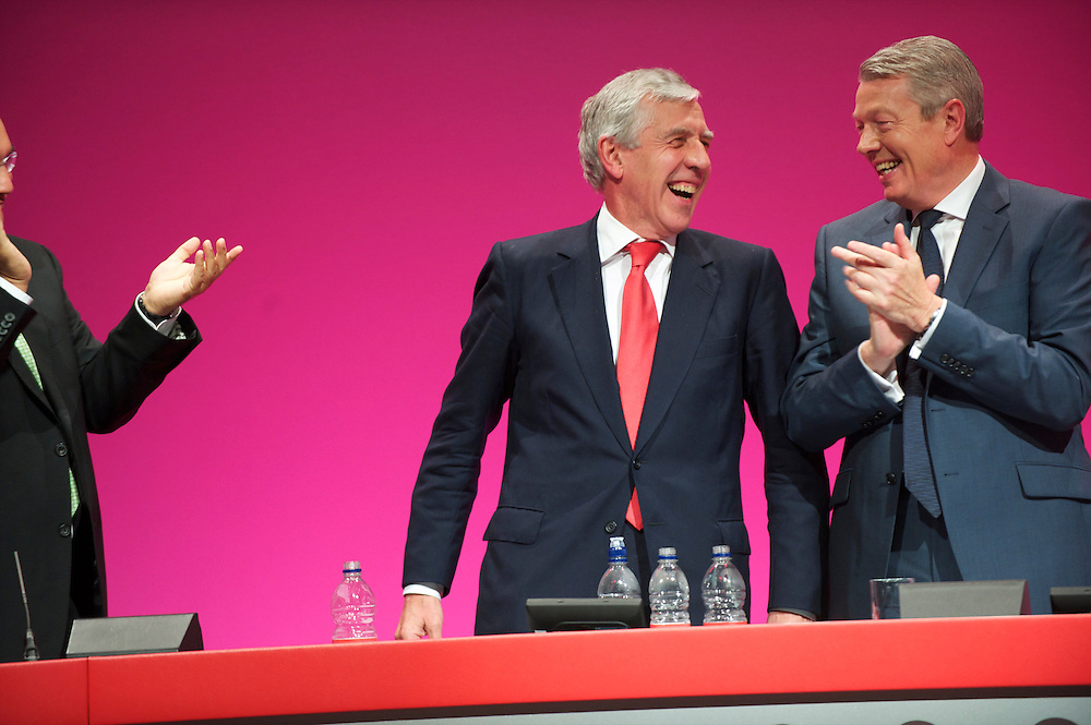 Jack Straw is congratulated after giving a speech to delegates at the Labour Party Conference in Manchester on 28 September 2010.