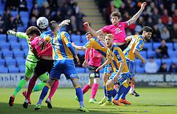 Jack Baldwin of Peterborough United heads in the opening goal of the game - Mandatory by-line: Joe Dent/JMP - 30/04/2016 - FOOTBALL - New Meadow - Shrewsbury, England - Shrewsbury Town v Peterborough United - Sky Bet League One