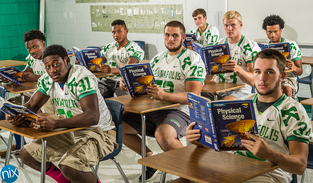 A.L. Brown football players Jayln Cagle (7), from left, Sandon Mccoy (31), Sabino Martinez (51), Cameron Peters (72), Casey Ritchie (17), Alex Hubbell (83), Cameron Rodgers (34) and Kaseim Black (8) have shown their skills in the classroom as well as the football field.