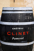 Wine shop. Outside, barrel advertising with Chateau Clinet Pomerol painted. Bordeaux city, Aquitaine, Gironde, France
