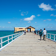 Queenscliff pier and boatsheds with blue sky