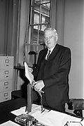 14/04/1964<br /> 04/14/1964<br /> 14 April 1964<br /> Dr James Ryan on Budget Day. Dr. James Ryan TD, Minister for Finance pictured at Government Buildings before leaving for the Dail to deliver his Budget speech.