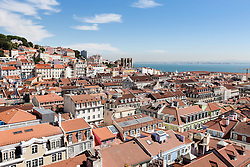 High angle view of Castelo Sao Jorge in city, Lisbon, Portugal