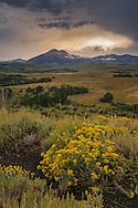 Stromy sunset over Dunderberg Peak from Conway Summit, Mono County, Eastern Sierra, California