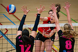 Nynke Rovers of Fast, Tessa de Boer of VCN, Lara Hendricks of Fast in action during the league match Laudame Financials VCN - FAST on January 23, 2021 in Capelle aan de IJssel.