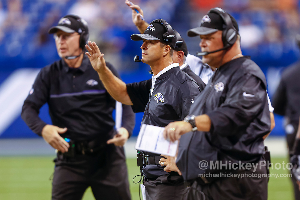 INDIANAPOLIS, IN - AUGUST 20: Head coach John Harbaugh of the Baltimore Ravens is seen during the game against the Indianapolis Colts at Lucas Oil Stadium on August 20, 2016 in Indianapolis, Indiana.  (Photo by Michael Hickey/Getty Images) *** Local Caption *** John Harbaugh
