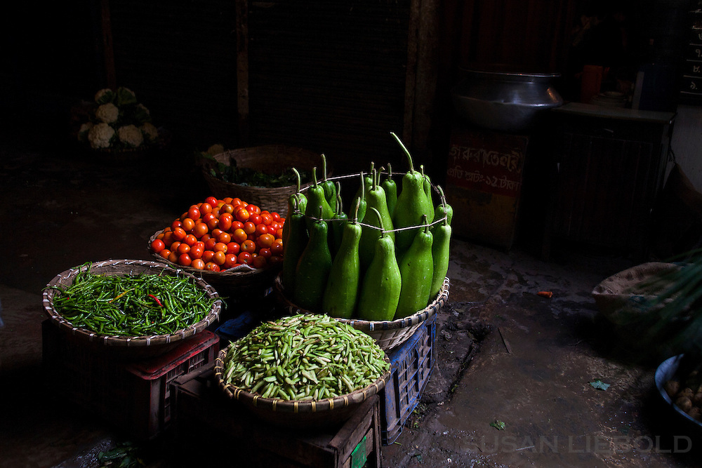 Produce for sale in a market in Dhaka, Bangladesh.