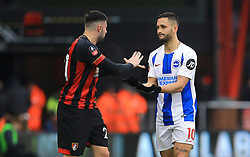 Bournemouth's Diego Rico (left) and Brighton & Hove Albion's Florin Andone shake hands after a clash during the Emirates FA Cup, third round match at the Vitality Stadium, Bournemouth.
