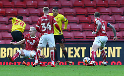 January 6, 2018 - Watford, England, United Kingdom - Watford's Andra Carrillo scores first goal..during FA Cup 3rd Round match between Watford  and Bristol  City at Vicarage Road Stadium, Watford ,  England 06 Jan 2018. (Credit Image: © Kieran Galvin/NurPhoto via ZUMA Press)