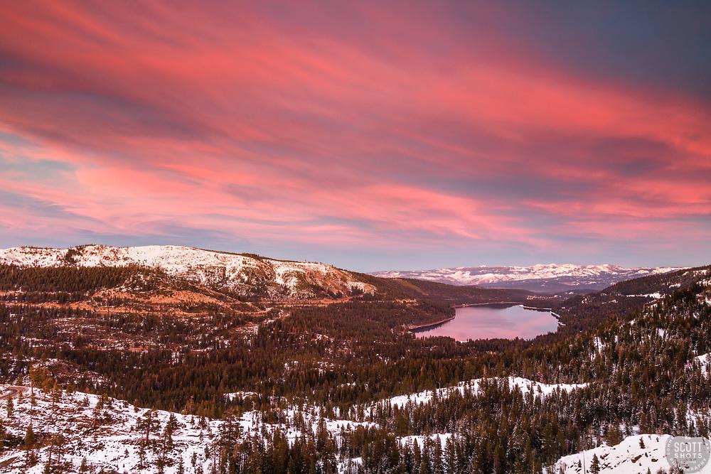 """Donner Lake Sunset 46"" - Winter photograph of Donner lake in Truckee, California shot at sunset."