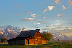 """The Moulton Barnsand the Grand Tetons in  Grand Teton National Park<br /> <br /> For production prints or stock photos click the Purchase Print/License Photo Button in upper Right; for Fine Art """"Custom Prints"""" contact Daryl - 208-709-3250 or dh@greater-yellowstone.com"""
