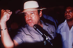 Panamanian dictator Manuel Noriega speaks harshly about U.S. involvement in Panamanian affairs at a rally in the countryside south of Panama City in 1988. One-time Panamanian dictator Manuel Noriega is being remembered as a ruthless strongman of volatile CIA operative and a brash drug trafficker. Noriega was removed from office in the 1989 U.S. invasion of Panama. He died last night at 83. Photo by David Walters/The Miami Herald/TNS/ABACAPRESS.COM