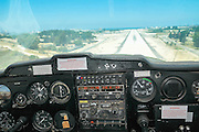Interior on a cockpit of a Cessna plane