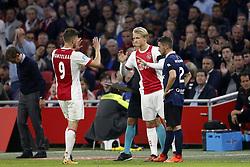 Klaas Jan Huntelaar of Ajax (L), Kasper Dolberg of Ajax (C) during the Dutch Eredivisie match between Ajax Amsterdam and Sparta Rotterdam at the Amsterdam Arena on October 14, 2017 in Amsterdam, The Netherlands