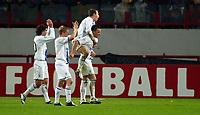Photo: Scott Heavey/Digitalsport<br /> CSKA Moscow v Chelsea. Champions League Group H. 01/11/2004.<br /> Chelsea celebrate the victory