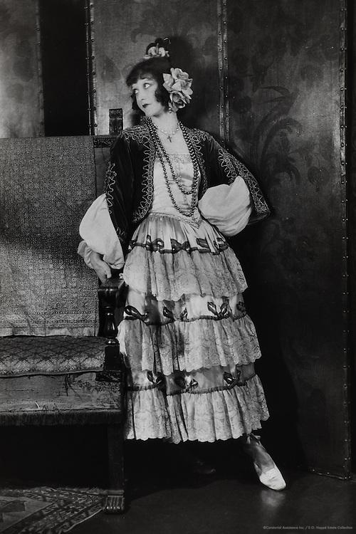 Elizabeth Nelvi, opera singer & composer (Mrs. Craig Edmonston), dressed as a Flamenco dancer, England, UK, 1916