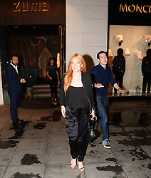 Hollywood star Lindsay Lohan comes to Turkey to sign a 2 million US dollar contract with B4L company. Lohan is seen leaving a restaurant with her friends at Istinye Park, Istanbul Turkey, 21st September, 2716.