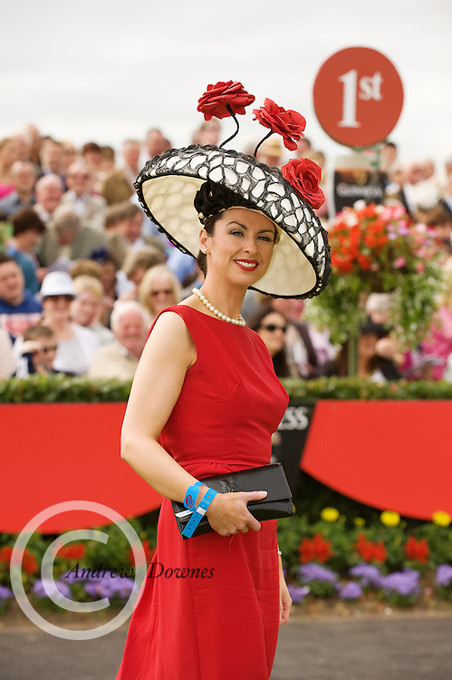 The winner of the Anthony Ryan's Best Dressed Lady Competition on Ladies Day at the Galway Races was Suzanne Mc Garry from Sligo. Ms. Mc Garry wore a red Vintage dress, accessorized with a Lina Stein designed dome shaped cream and black hat embellished with pearls and handmade silk roses .Photo:Andrew Downes