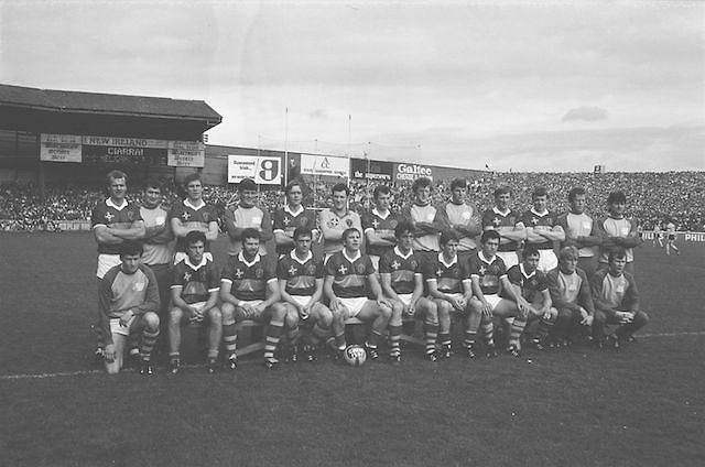 The Kerry team before the All Ireland Senior Gaelic Football Championship Final Kerry v Dublin at Croke Park on the 22nd September 1985. Kerry 2-12 Dublin 2-08. <br /> C Nelligan, P Ó'Sé, S Walsh, M Spillane, T Doyle, T Spillane, G Lynch, J O'Shea, A O'Donovan, T O'Dowd, D ''Ogie'' Moran, P Spillane, M Sheehy, E Liston, G Power, Sub J Kennedy for G. Power.