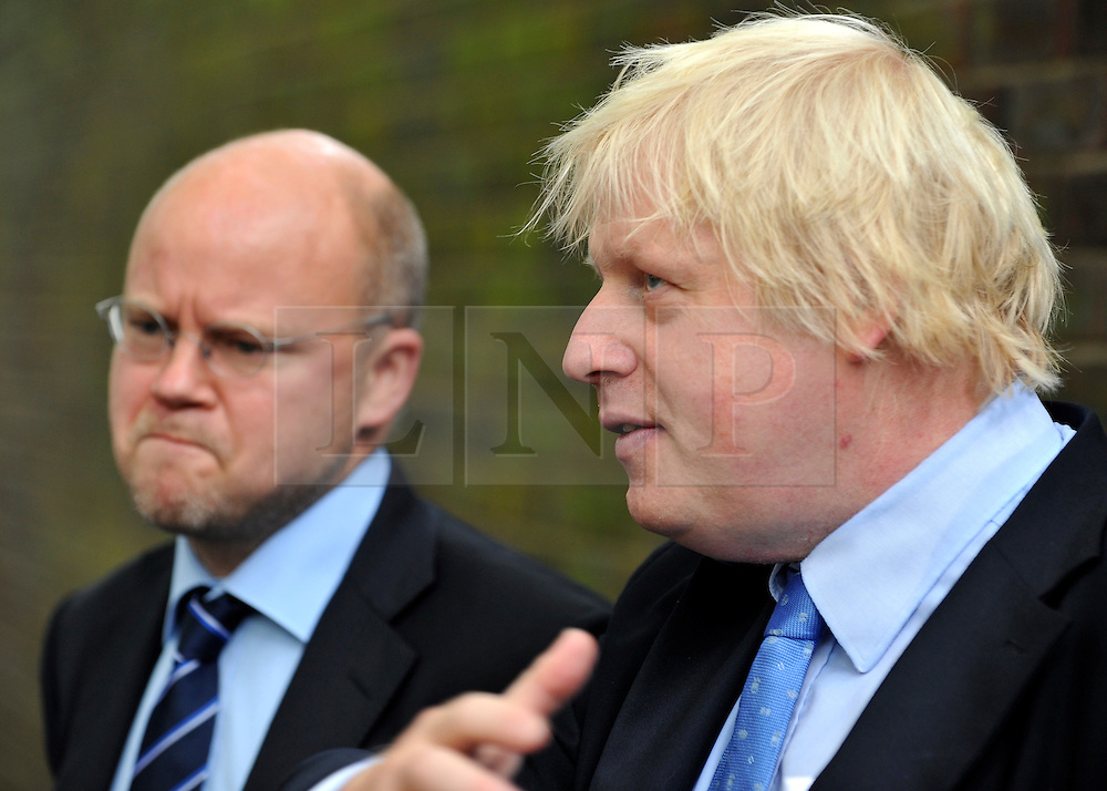 © licensed to London News Pictures. LONDON, UK.  09/09/11. Toby Young (L) and Boris Johnson. London Mayor Boris Johnson joins Chair of Governors Toby Young to officially open the The West London Free School (WLFS). The WLFS is an 11-18 secondary school, which has been set up by a group of parents and teachers in Hammersmith. The school is led by headmaster Thomas Packer . Mandatory Credit Stephen Simpson/LNP
