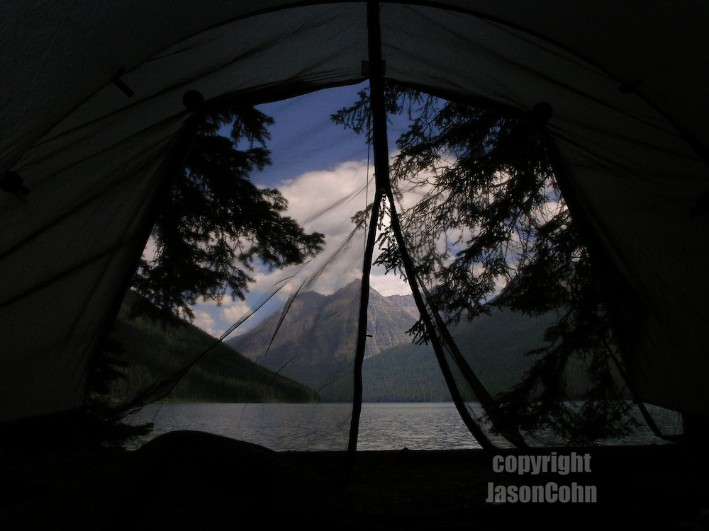View from a tent onto Quartz Lake in Glacier National Park, Montana. Photo by Jason Cohn