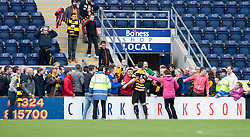 Alloa Athletic's Ben Gordon and Alloa Athletic's keeper Scott Bain  with their fans at the end.<br /> Falkirk 3 v 1 Alloa Athletic, Scottish Championship game played today at The Falkirk Stadium.<br /> © Michael Schofield.