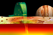 Current scientific ideas about the role of sulfur in volcanoes on Jupiter's moon Io are illustrated.