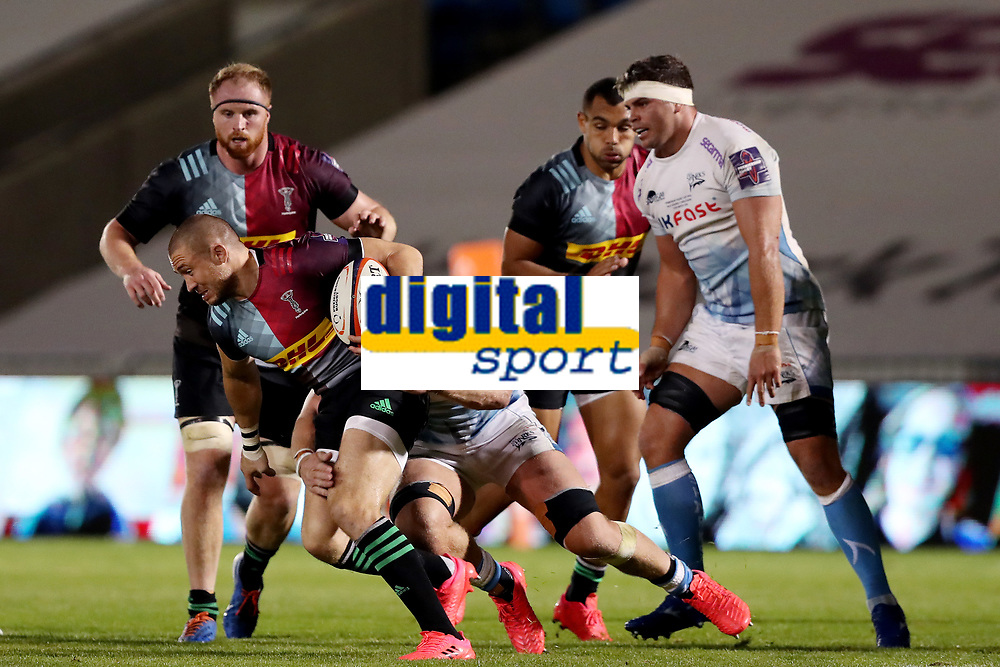 Rugby Union - 2019 / 2020 Premiership Rugby Cup - Final - Sale Sharks vs Harlequins<br /> Mike Brown of Harlequins is tackled by Jean-luc de Preez of Sale Sharks, at the A J Bell Stadium.<br /> <br /> COLORSPORT/PAUL GREENWOOD