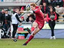 Scarlets' Rhys Patchell kicks at goal<br /> <br /> Photographer Simon King/Replay Images<br /> <br /> EPCR Champions Cup Round 3 - Scarlets v Benetton Rugby - Saturday 9th December 2017 - Parc y Scarlets - Llanelli<br /> <br /> World Copyright © 2017 Replay Images. All rights reserved. info@replayimages.co.uk - www.replayimages.co.uk