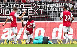 23.07.2011,  Rhein Energie Stadion, Koeln, GER, FSP, 1. FC Koeln vs Arsenal London, im Bild:  Szene nach dem 0:2 durch Gervinho (Arsenal #22) (M). Michael Rensing (Torwart Koeln) verletzt ...// during the friendly match, 1. FC Koeln vs Arsenal London on 2011/07/23, Rhein-Energie Stadion, Köln, Germany. EXPA Pictures © 2011, PhotoCredit: EXPA/ nph/  Mueller *** Local Caption ***       ****** out of GER / CRO  / BEL ******