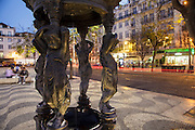 Small Water fountain at Rossio square in Lisbon.