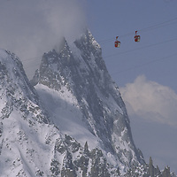 Pointe Helbronner cable cars high above Vallee Blanch. (Chamonix/Mont Blanc region)