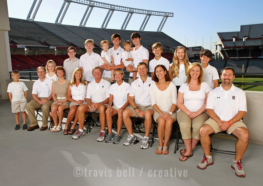The Spurrier family poses at Williams-Brice Stadium in Columbia, S.C. ©Travis Bell Photography