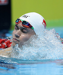 JAKARTA, Aug. 24, 2018  Sun Yang of China reacts after men's 1500m freestyle final of swimming at the 18th Asian Games in Jakarta, Indonesia, Aug. 24, 2018. (Credit Image: © Fei Maohua/Xinhua via ZUMA Wire)