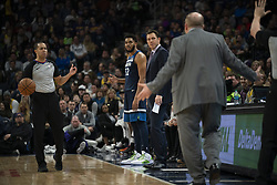 January 6, 2019 - Minneapolis, MN, USA - Minnesota Timberwolves center Karl-Anthony Towns (32) waits to inbound the ball after offsetting technical fouls were called on him and Los Angeles Lakers forward Michael Beasley in the first half on Sunday, Jan. 6, 2019 at Target Center in Minneapolis, Minn. The Minnesota Timberwolves defeated the Los Angeles Lakers, 108-86. (Credit Image: © Jeff Wheeler/Minneapolis Star Tribune/TNS via ZUMA Wire)