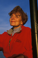 Dr. Sylvia Earle looks out to sea from the deck of a ship