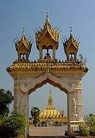 Sacred Buddhist stupa in Vientane, Laos .
